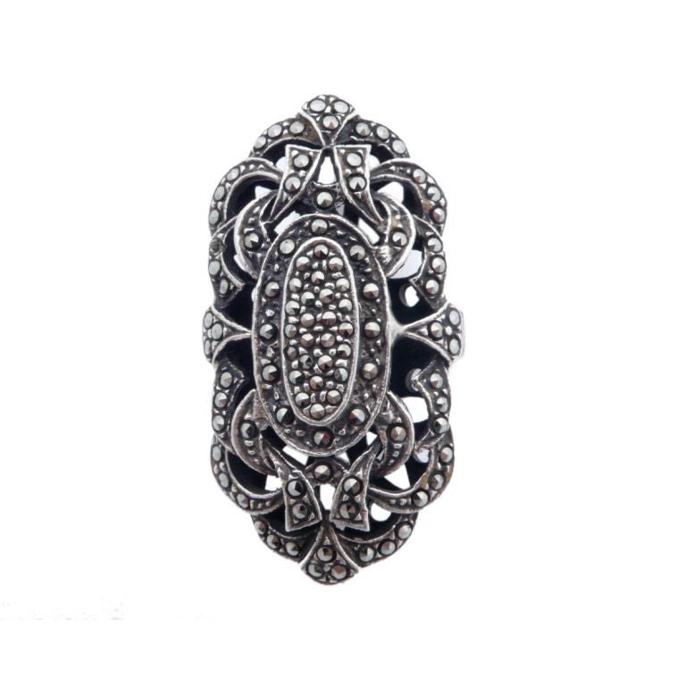 marcasite and sterling silver cocktail ring at 1stdibs
