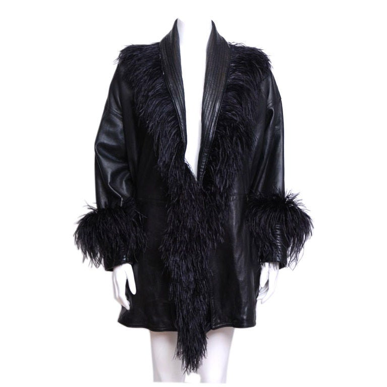 Versace Black Leather Jacket with Ostrich Feathers at 1stdibs