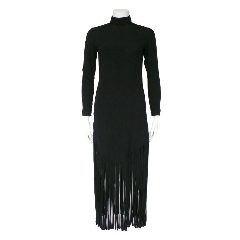 Black Silk Crepe Fringe Dress 1