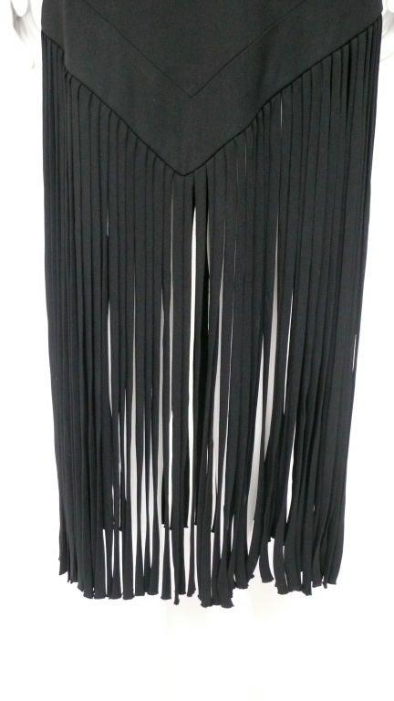 Black Silk Crepe Fringe Dress 4