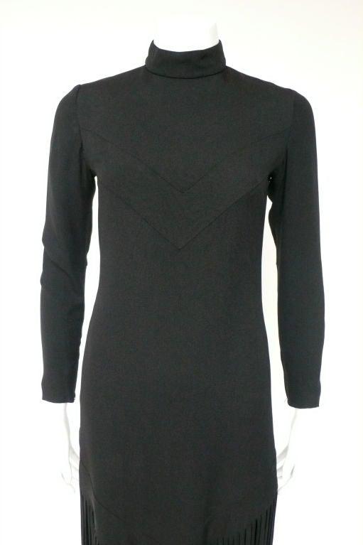 Black Silk Crepe Fringe Dress 5