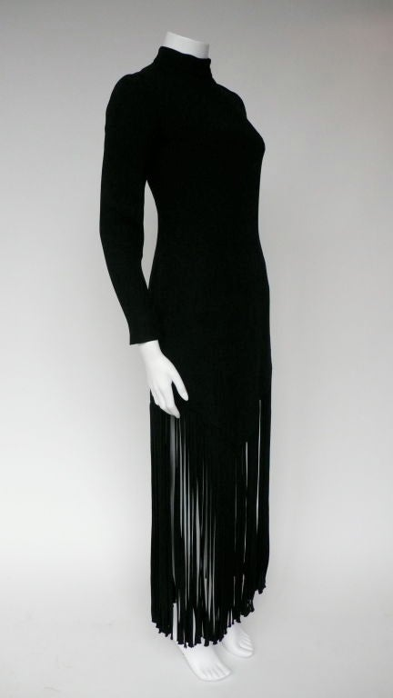 Black Silk Crepe Fringe Dress 2