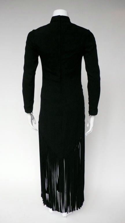 Black Silk Crepe Fringe Dress 3