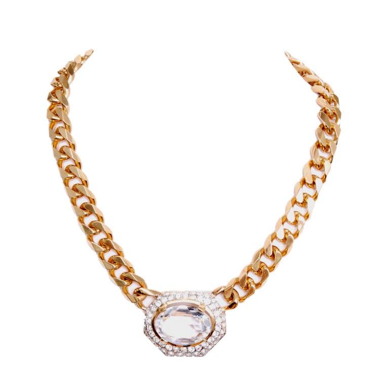 Nina Ricci Gold Link Oversized Rhinestone Pendant 1
