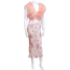 1930's Floral Slip with Pink Marabou Vest