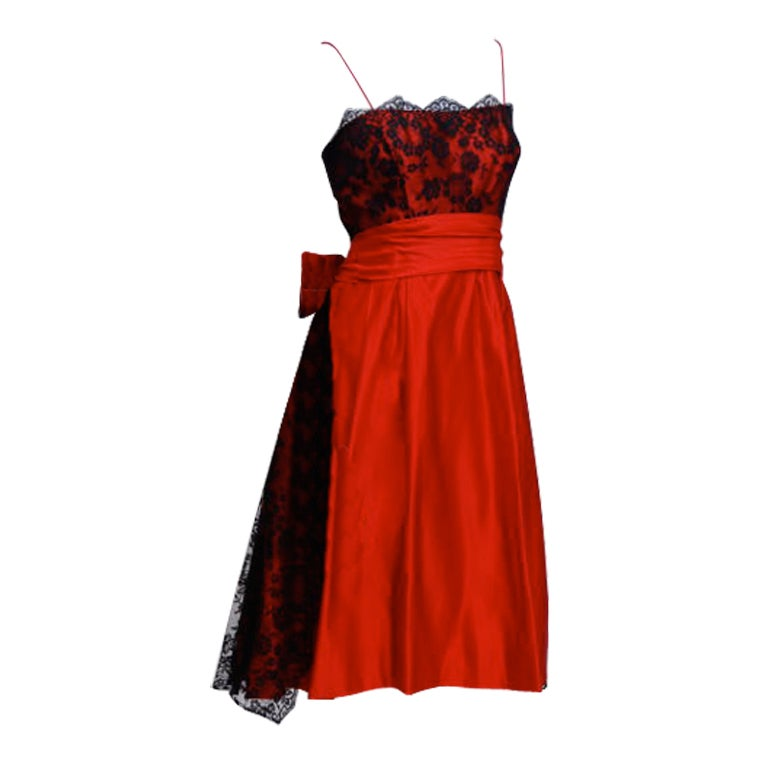 ceil chapman red and black lace cocktail dress at 1stdibs