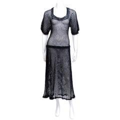 Black Crochet Drop Waist Dress