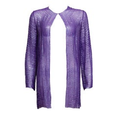 Halston Purple Silk Chiffon and Sequined Jacket