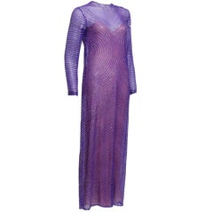 Halston Purple Silk Chiffon and Sequined Gown