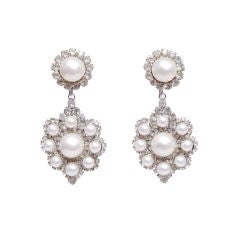 KJL Pearl and Rhinestone Ear Clips
