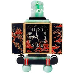 Beautiful Oriental style table clock by Lacloche Frères