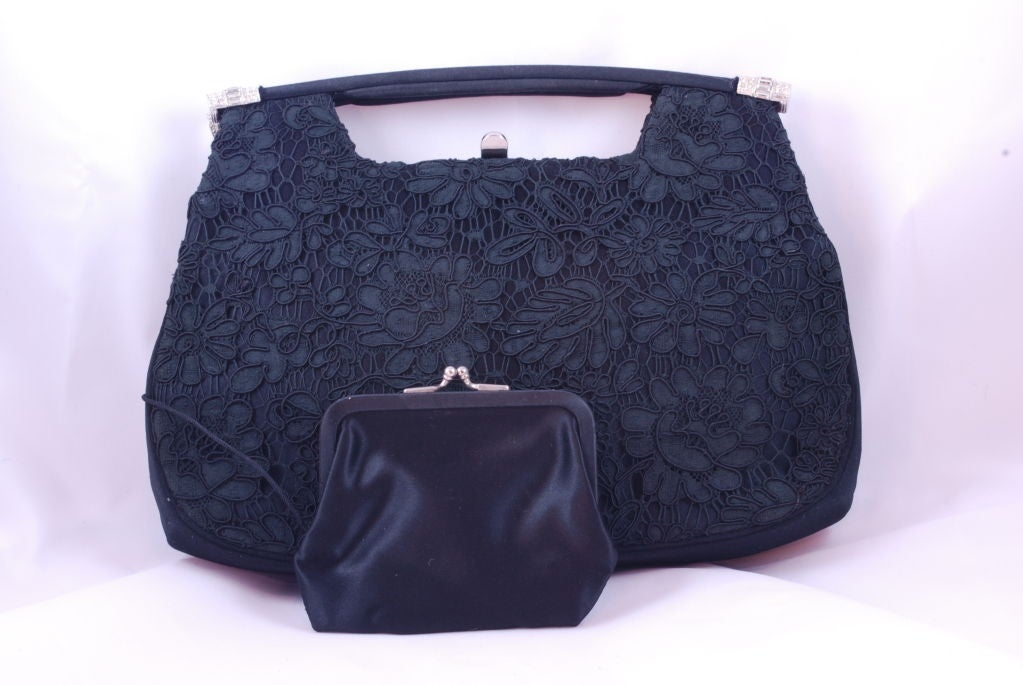 1950's Black Lace and Rhinestone Evening Bag image 4