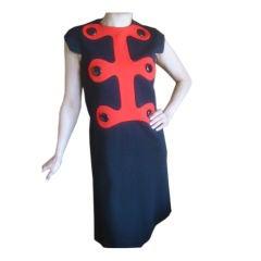 Pierre Cardin Charming 1960's Space Age Dress