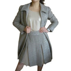CHANEL 3 Piece Fantasy Tweed & Sequins Skirt Suit & Coat Sz 4-6