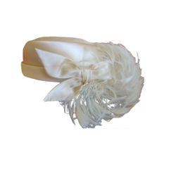 Feathered Silk Satin Pillbox Hat from Mr. John I. Magnin