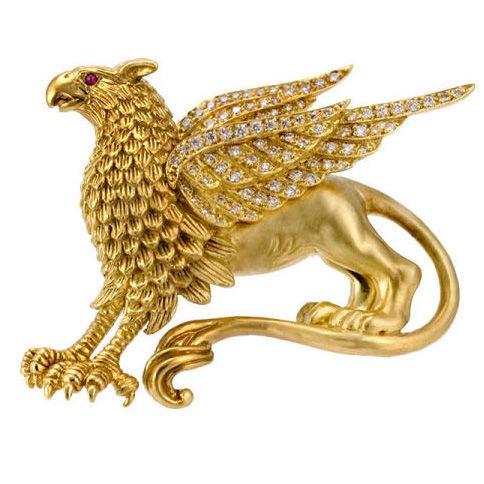 Lipten 18k Gold Diamond Griffin Ruby Eye Brooch Pin At