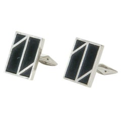 Dunhill Rectangular Cuff Links with Zig-zag