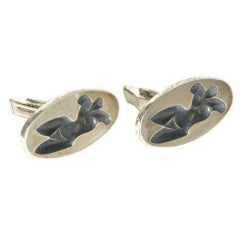 Dunhill Elliptical Cuff Links with Figures
