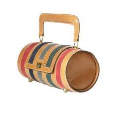 Striped Barrel Handbag by Josef