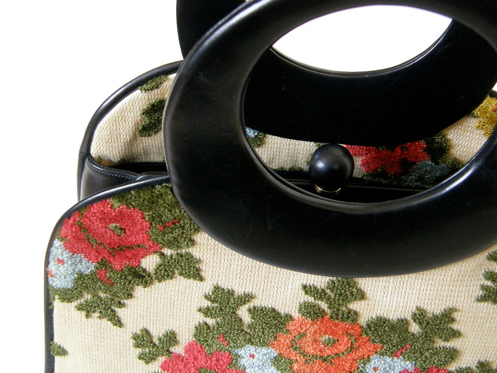 Women's Holzman Tapestry Handbag with Round Handles For Sale