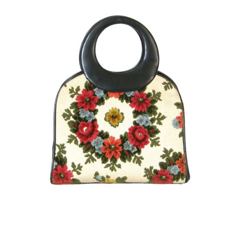 Holzman Tapestry Handbag with Round Handles