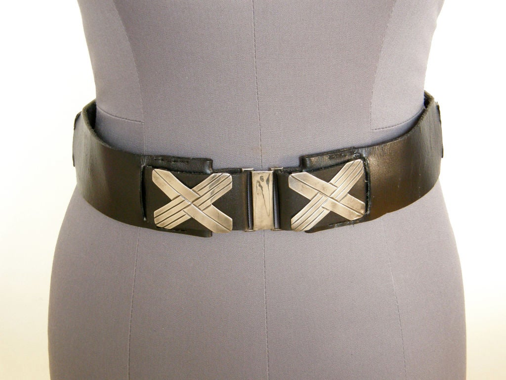 Women's Mexican Sterling and Black Leather Belt For Sale