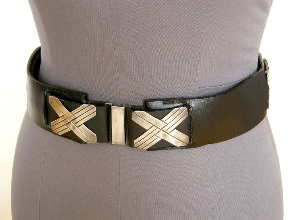 Mexican Sterling and Black Leather Belt For Sale 1