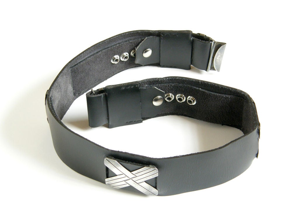 Mexican Sterling and Black Leather Belt For Sale 2