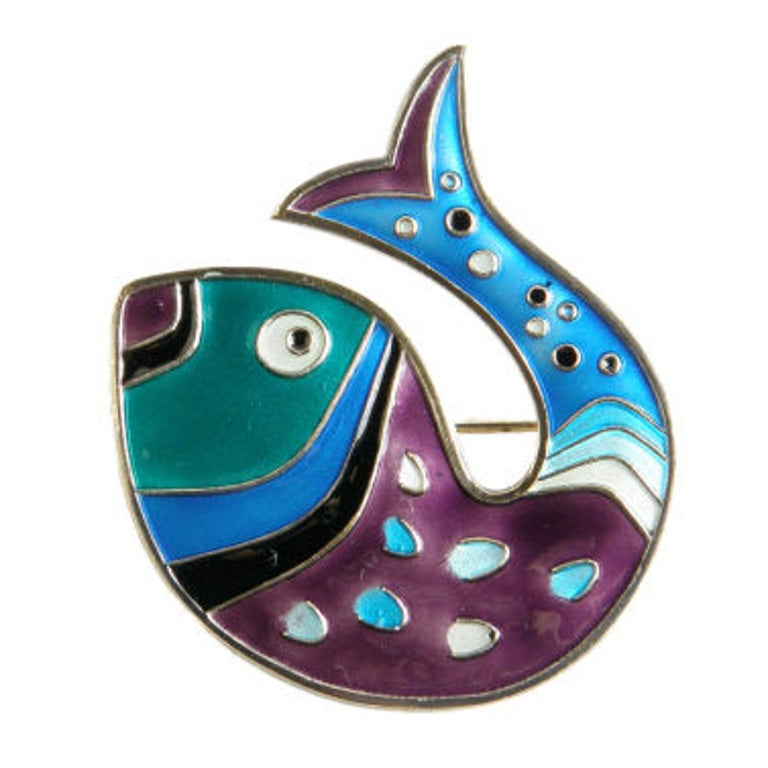 David-Andersen Gilt Sterling Fish Pin with Brightly Colored Enamel For Sale
