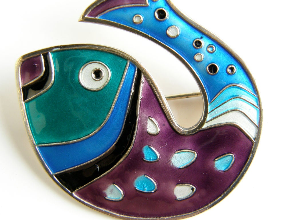 Women's David-Andersen Gilt Sterling Fish Pin with Brightly Colored Enamel For Sale