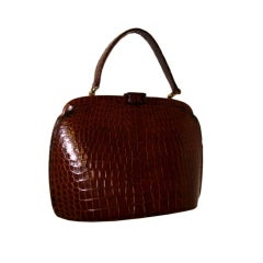Brown Crocodile Handbag Purse by Nettie Rosenstein