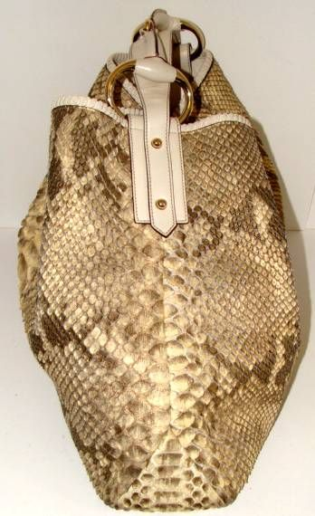 Gucci Snakeskin Hobo Bag In Pearl And Metallic Python At