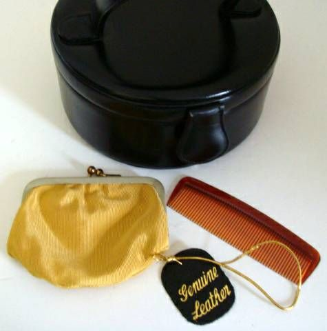 Black Calfskin Hatbox Purse for Evening by Greta 2