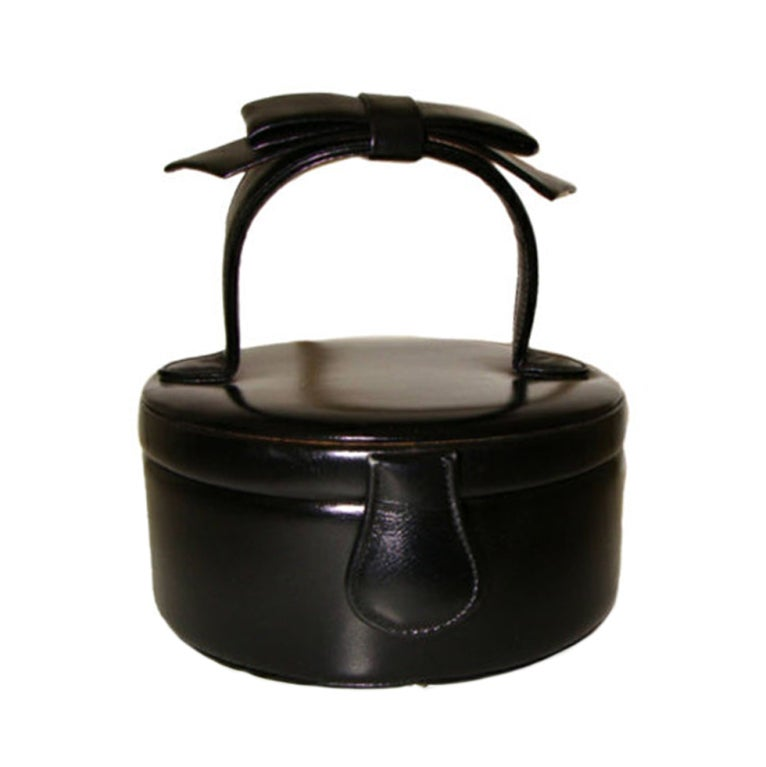 Black Calfskin Hatbox Purse for Evening by Greta For Sale