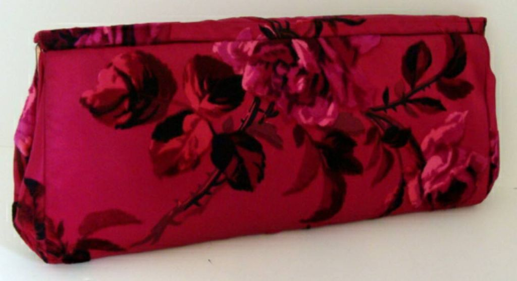 Hot Pink Floral Silk Clutch image 2