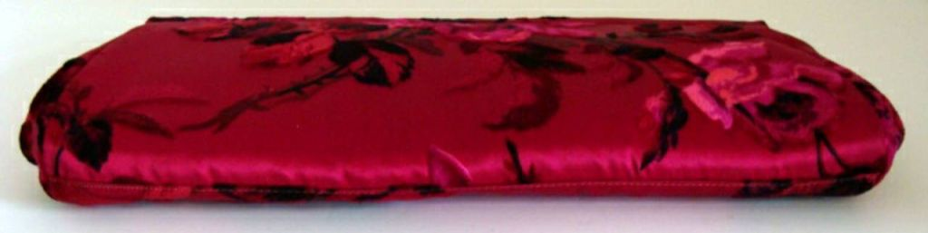Hot Pink Floral Silk Clutch image 3