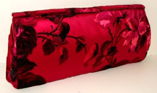 Hot Pink Floral Silk Clutch image 6