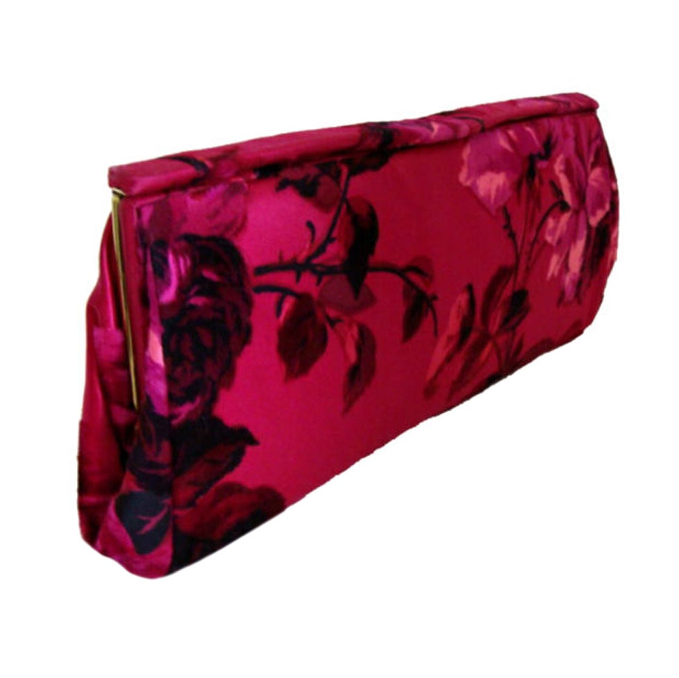 Hot Pink Floral Silk Clutch