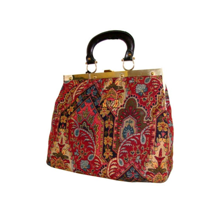 Large Tapestry Satchel Handbag Purse at 1stdibs