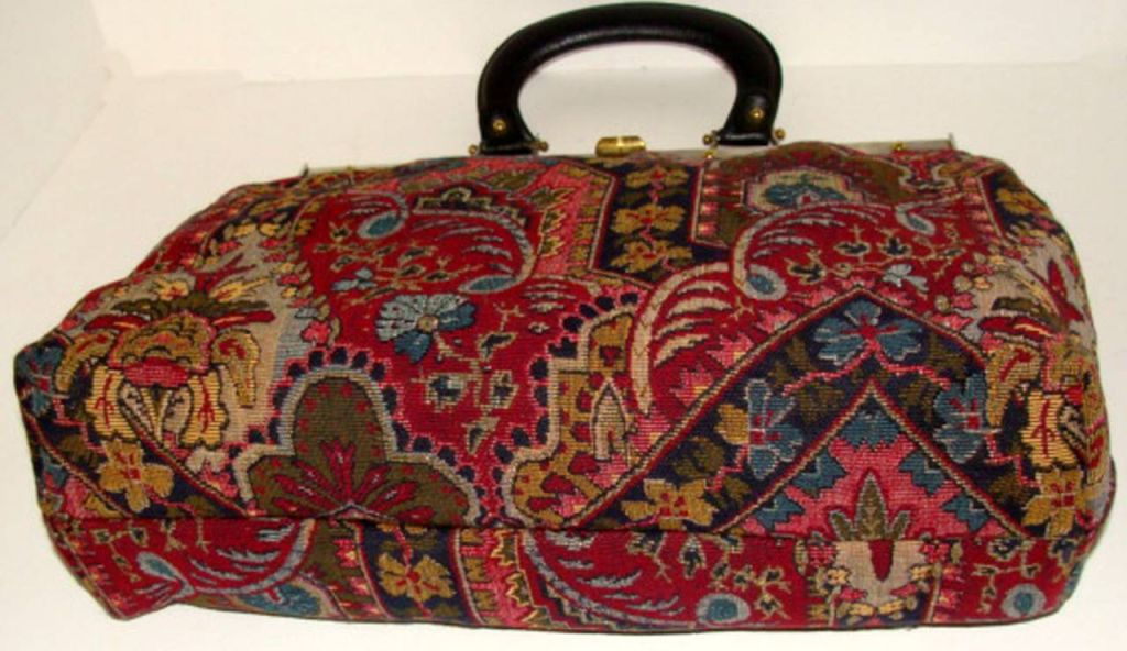 Large Tapestry Satchel Handbag Purse image 4