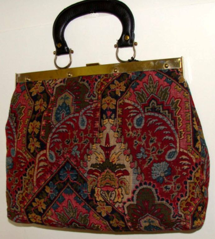 Large Tapestry Satchel Handbag Purse image 3