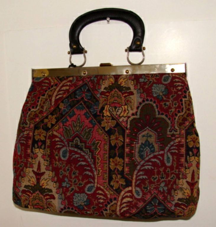 Large Tapestry Satchel Handbag Purse image 5