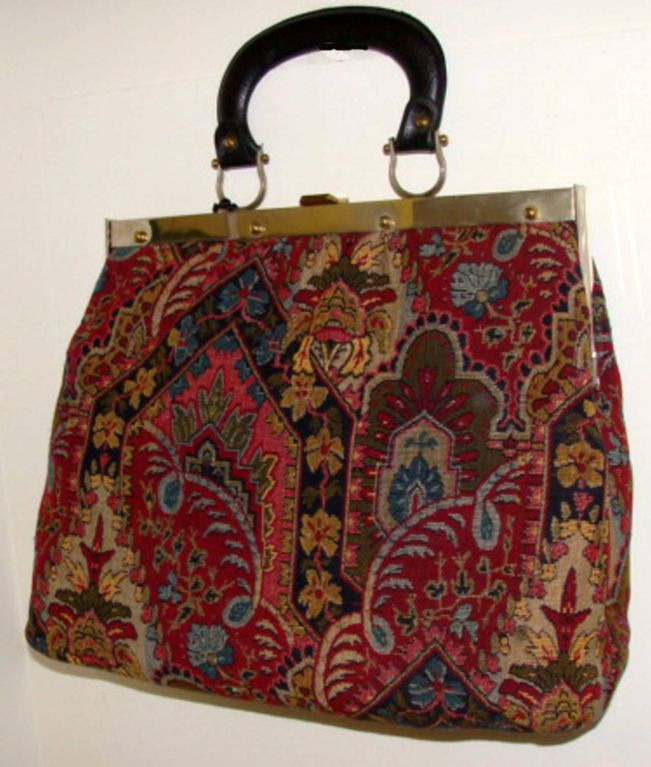Large Tapestry Satchel Handbag Purse image 6