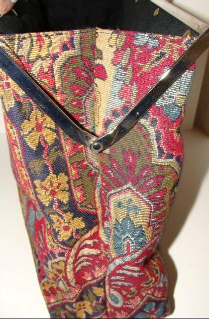 Large Tapestry Satchel Handbag Purse image 8