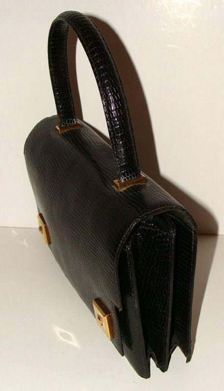 Hermes Black Lizard Piano Bag Purse Handbag At 1stdibs