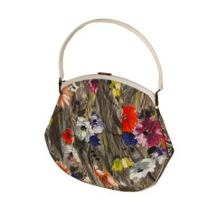 Spring!  Extraordinary Large Handscreened Floral Structured Handbag