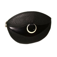 Art Deco Elliptical Clutch with Bakelite  Ring Decoration