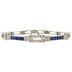Tiffany & Co. Art Deco Diamond, Sapphire & Platinum Bracelet