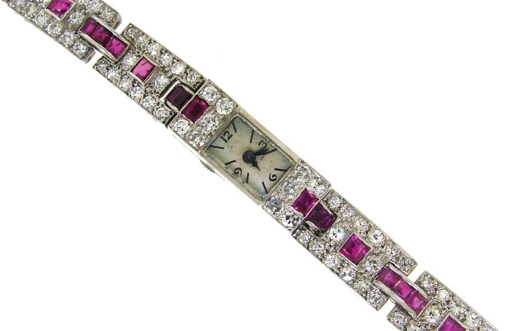 Art Deco Cartier Ladies Platinum Diamond Ruby Bracelet Wristwatch For Sale