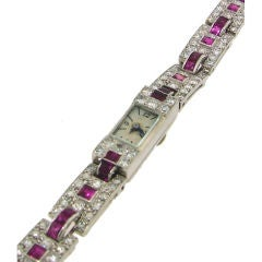Cartier Ladies Platinum Diamond Ruby Bracelet Wristwatch